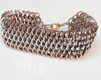 Champagne and Silver Striped Square Dragonscale Bracelet