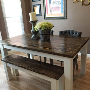 Farmhouse Table | Solid Wood Farmhouse Dining Table | Farmhouse Kitchen  Table | Built To Order