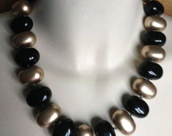 Necklace - necklace chunky funky large black and gold plastic beads
