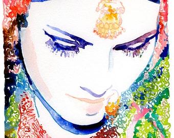 Watercolor Indian Bride Print, Indian Fashion Illustration, Watercolor Fashion Illustration, Indian Wedding, Indian Bride, Nose Ring, Sari