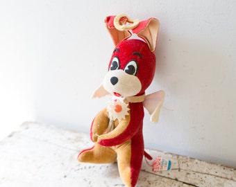 Vintage Plush Bunny Rabbit Dog - Red Holiday Fair Dream Pet - Stuffed Angel Cutesy Carnival Prize Plush Soft Toy 1950s
