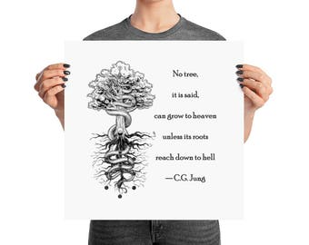 No Heaven without Hell - Carl Jung Quote - Poster