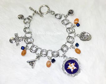 Houston Astros Charm Bracelet Made With Glass Beads And Astro Charm