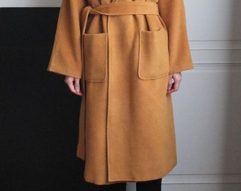 Persimmon open-front belted wool coat