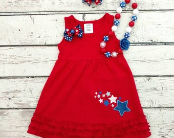 Fourth of July dress - fourth of July outfit - patriotic outfit - Fourth of July - 4'th of July outfit, 4'th of July dress - sibling dresses