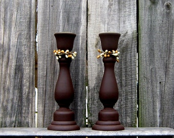 Taper Candle Holders, Painted Wood, Set of Two, Pair, Primitive Decor, Rustic, Country Decor, Chocolate Brown, Ivory and Tan Pip Berries