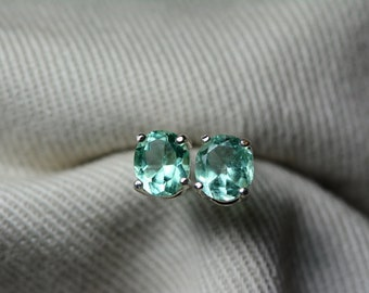 Emerald Earrings, Colombian Emerald Stud Earrings 0.83 Carats, Appraised at 675.00 Sterling Silver,Real Natural, May Birthstone, Oval Cut