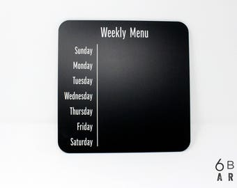 Weekly Menu Planner Chalkboard | Weekly Menu Planning Board | Menu Refrigerator Magnet | Reusable Menu Board | Kitchen Chalkboard