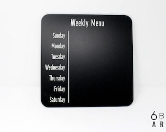 Wöchentliche Menü-Planer-Tafel | Wöchentliche Menüplanung Board | Menü-Kühlschrank-Magnet | Wiederverwendbare Speisekarte an Bord | Küche Tafel