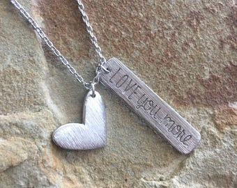 Silver love you more necklace