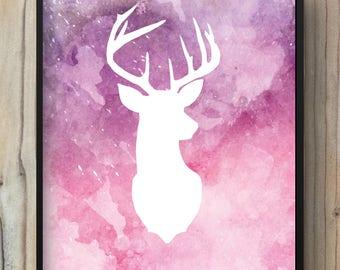 Poster deer watercolor