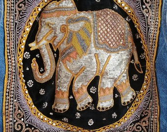 Custom ooak Trophy statement remade recycled denim jacket beaded embeoidered velvet india patch elephant sequins cording