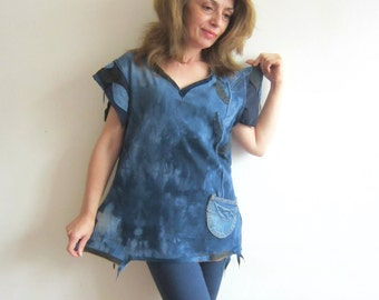 L/XL Blue Denim Top Extravagant Top Appliqued Top Boho Chic Top Upcycled Denim Recycled Tshirt Tunic Top Women Patchwork Top Loose Fit Top