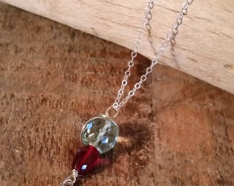 Blood Is Thicker Than Water, Faceted Aquamarine and Garnet Gemstone Stack with Sterling Hatchet Accent, Conversation Piece, Fun Necklace
