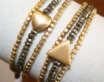 Triple Wrap gold and pyrite Bracelet/ Necklace  w/ Heart or Triangle Vermeil Charm. Boho chic. Adjustable. Bridesmaid. Versatile. L