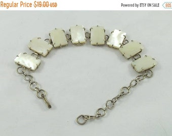 April Sale Squared white mother of pearl MOP chained bracelet
