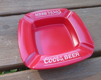 Vintage Coors Beer Red Ashtray