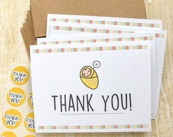 Cute Baby Thank You Cards Set - 8 Cards, Envelopes, Stickers, Baby Shower, Cute Thank You Cards, Expecting, Baby Boy, Baby Girl, Neutral