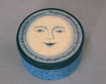 Blue Moon Paper Mache Storage Gift Box