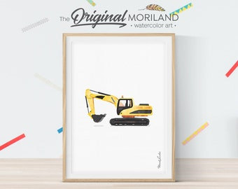 Excavator Print, Excavator Wall Decor, Digger Print, Construction Print, Construction Birthday Party Decor, Truck Print, Toddler Room Decor