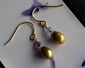 Freshwater Pearl & Iolite Earrings