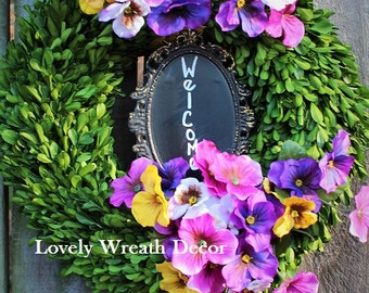 Spring wreath ,silk Pansies wreath ,  boxwood wreath , preserved boxwood wreath  ,front door wreath