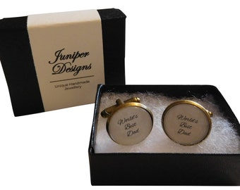 World's Best Dad / Daddy cufflinks. Custom option available. Christmas gift for dad, daddy gift