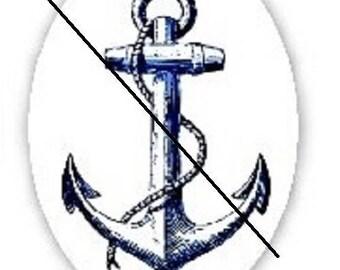 pretty cabochon 18x25mm, anchor marine