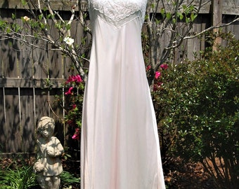 Vintage Nightgowns, 1960s Blush Pink Satin Nightgown, Lace Trim, Full Length, Spaghetti Straps, Barbizon Lingerie, Bridal Gift, Gift for Her