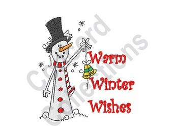 Warm Winter Wishes - Machine Embroidery Design, Winter - Machine Embroidery Design, Snowman - Machine Embroidery Design
