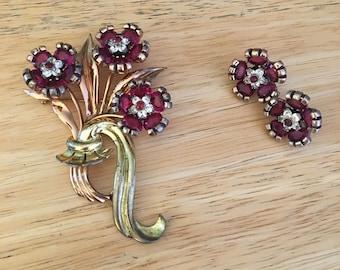 Vintage PENNINO Sterling Triple Flower Figural Ruby Rhinestone Two-Tone BROOCH PIN with Clip on Earrings