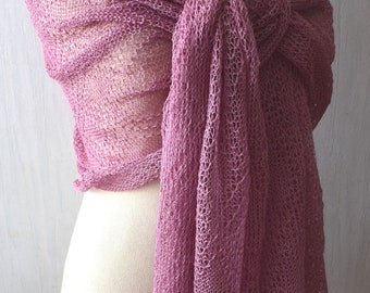 Orchid Old Pink Linen Shawl Knitted Scarf Natural Summer Wrap Women Accessory