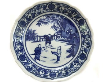 """Vintage Japanese 8"""" Bowl with Boys Playing Hand Painted Blue White Serving Bowl Signed"""
