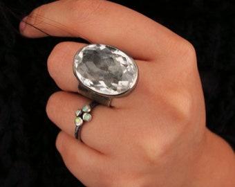 Statement-Ring / rustikal Schmuck / Raw Sterling Silber / Cubic Zirkonia / Größe 8 / Silber Ring / Geschenk für sie / handgefertigte Schmuck / Andenken