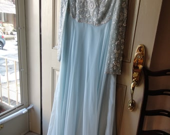 SALE  Below 1/2 Price Pale Blue Chiffon with Beaded Top Gown