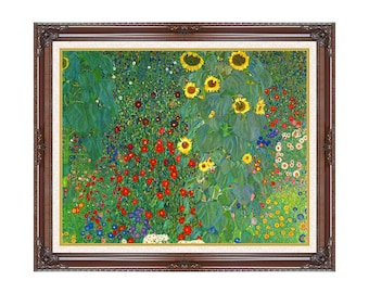 Framed Farm Garden with Sunflowers Gustav Klimt Art Nouveau Canvas Print Painting Reproduction - Sizes Small to Large - M00555