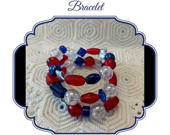 Patriotic Wrap Bracelet, Red White and Blue Coil Bracelet, Patriotic Memory Wire Wrap Bracelet, July 4th Bracelet