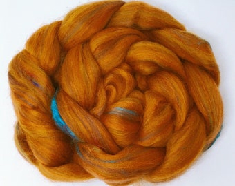 Rust - custom blended tops for spinning felting 100g Corriedale Shetland Sari Silk