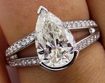 GIA 2.68ct Vintage PEAR Shaped Diamond Engagement Wedding Pave Platinum Ring