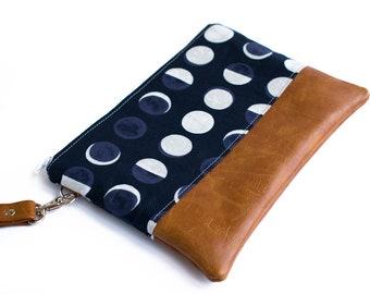 Moon Phase, Wristlet Wallet, Navy Clutch, Faux Leather, Vegan Wristlet, Moon Wallet, Moon Print