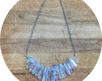 Angel aura quartz point necklace