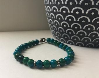 Blue Chrysocolla Gemstone Bracelet