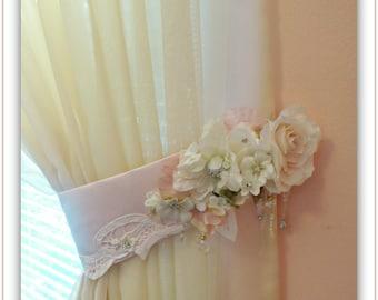 Curtain Tiebacks Set   Nursery Decor  Floral French Vintage Curtain Tiebacks  Shabby Chic  Cottage Tie Backs