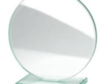 Trophy round glass TROP3 engraving text or design of your choice. Award, diploma, ceremony
