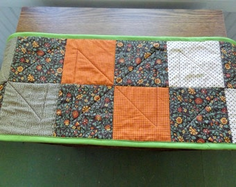 Quilted Patchwork Fall Table Runner, Quilted and Padded