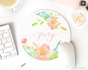 floral mouse pad | round mouse pad | pray quote | mouse pad vintage | mousepad floral | cute mouse pad | pretty desk accessories