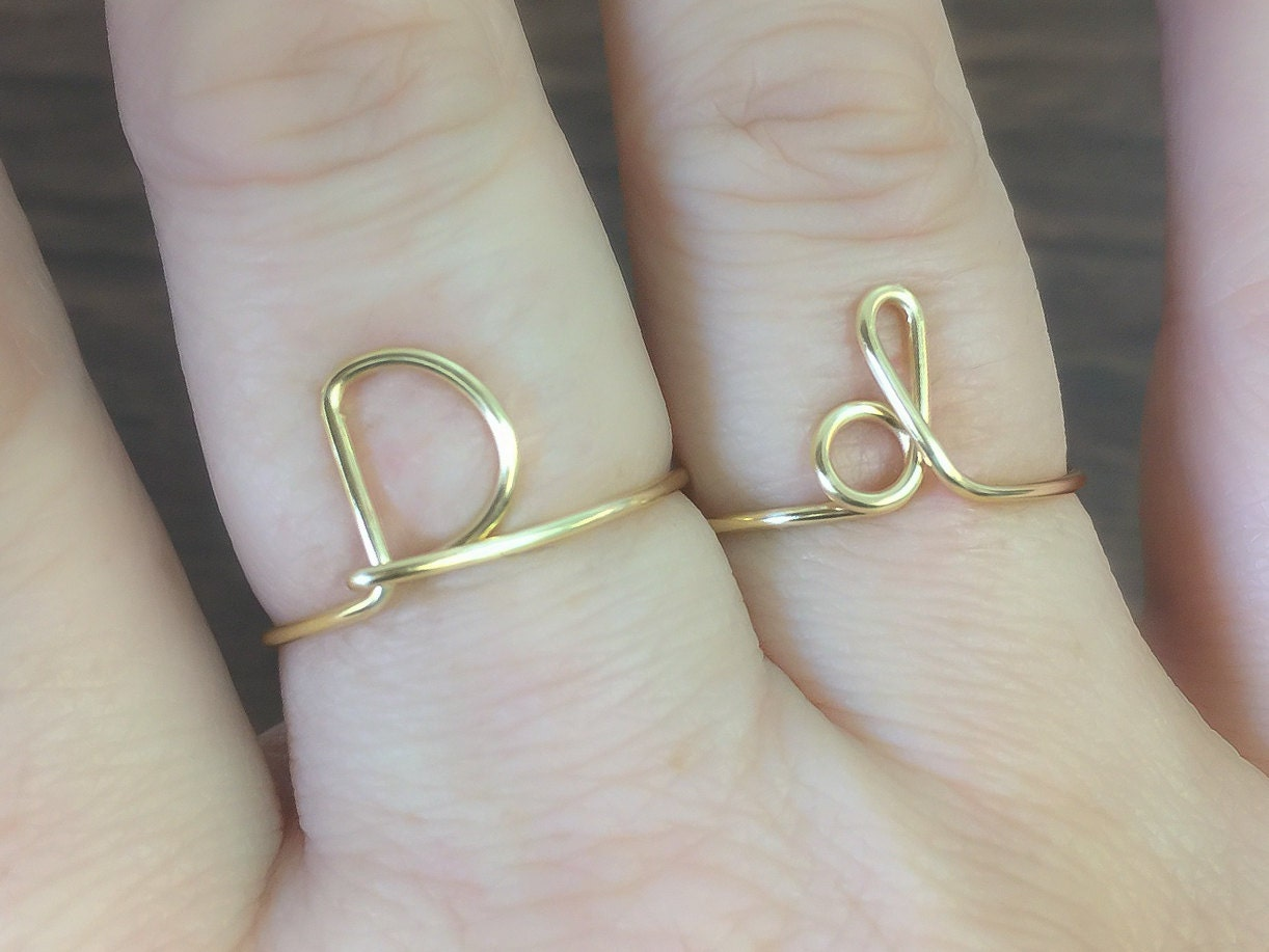 Initial ring letter D ring personalized wire initial ring