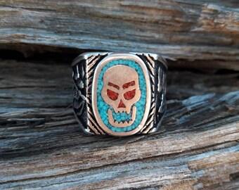 Vintage 1985 Demon Skull G&S Biker Ring - Size 10