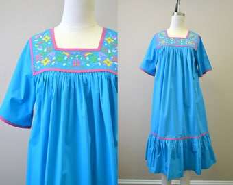 1980s Turquoise Embroidered Muu Muu