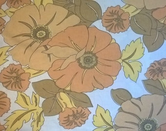 Vintage Sheet Fat Quarter, Vintage Bed Linen, Yellow Floral Fabric, 60s Fabric, Bold Flowers, Vintage Bed Sheet, European Sourced Fabric